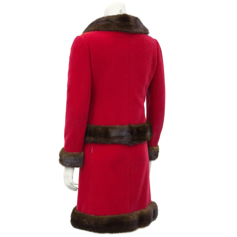 1960 39 s nina ricci haute couture red wool ensemble with for 1960 s haute couture