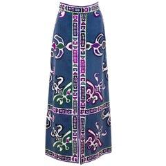 Late 1960's Emilio Pucci Maxi Velvet Printed Skirt