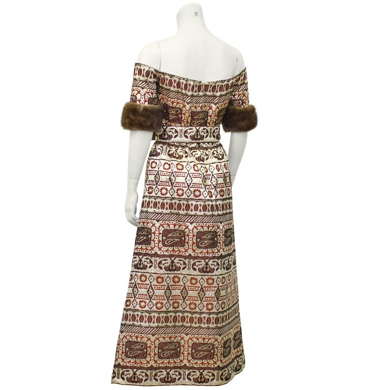 1970's Oscar de la Renta Brocade Gown with Mink Trim 3
