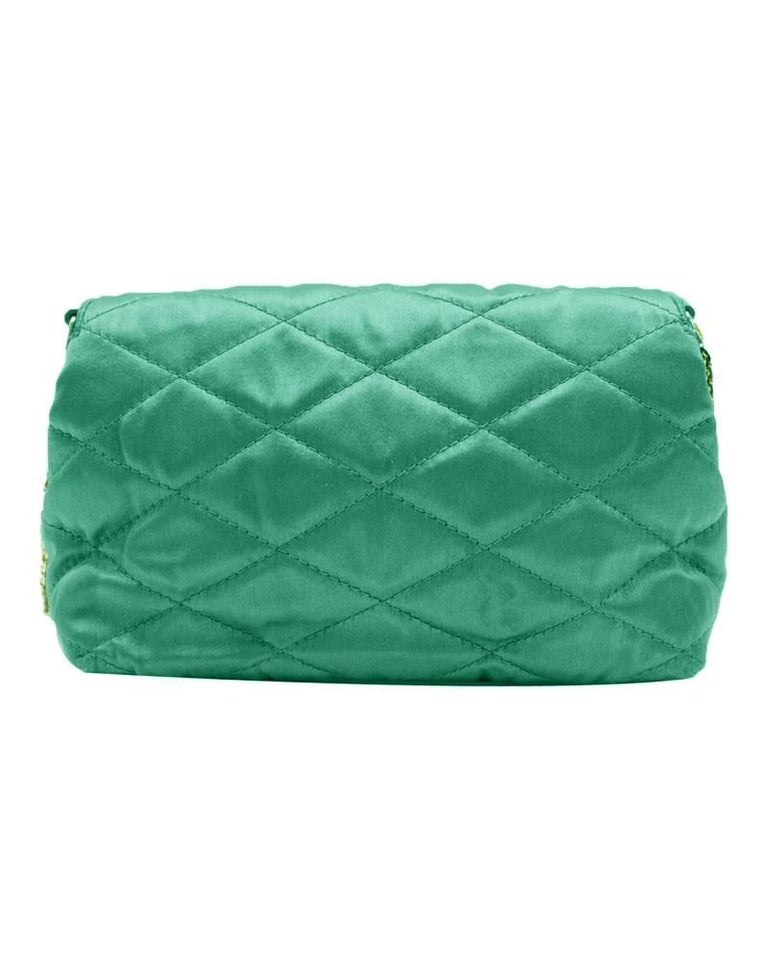 Blue 1980s Chanel Emerald Green Silk Bag with Gold Chain  For Sale