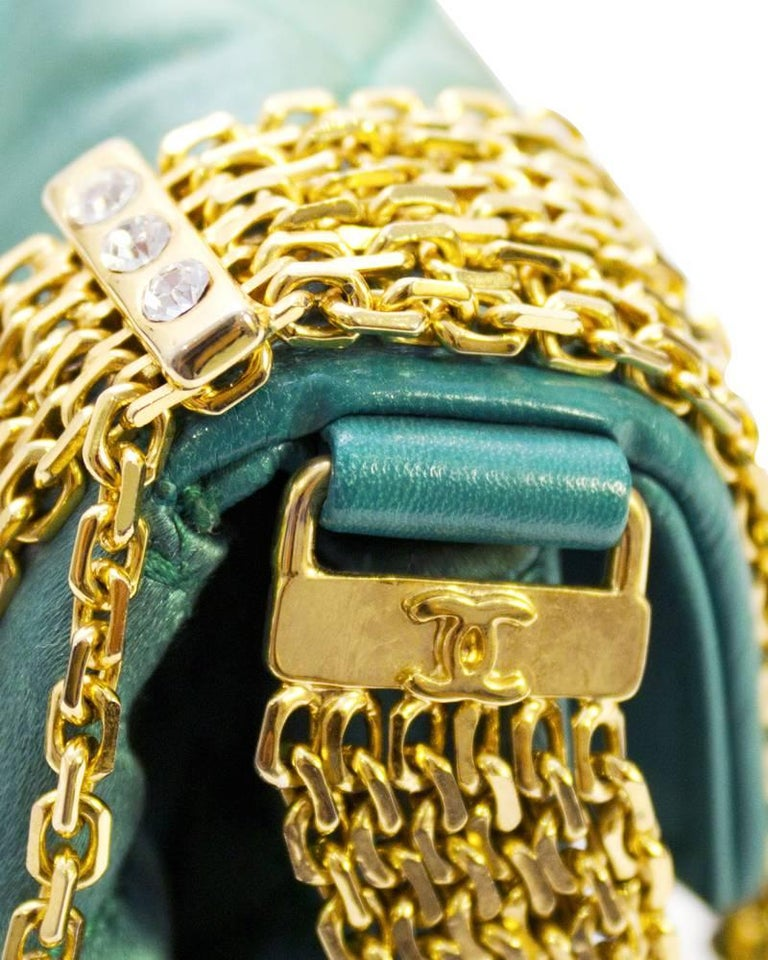 Women's 1980s Chanel Emerald Green Silk Bag with Gold Chain  For Sale