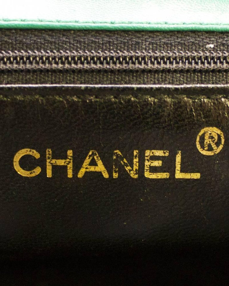 1980s Chanel Emerald Green Silk Bag with Gold Chain  For Sale 1