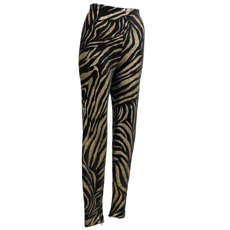 1980s Gianni Versace Black and Gold Tiger Stripe Leggings  For Sale