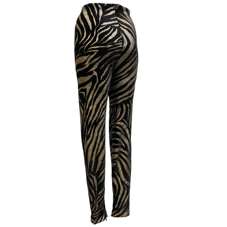 1980s Gianni Versace Black and Gold Tiger Stripe Leggings  2