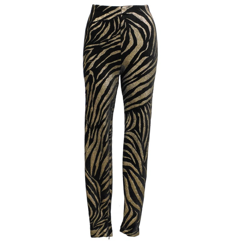 1980s Gianni Versace Black and Gold Tiger Stripe Leggings  In Excellent Condition For Sale In Toronto, Ontario