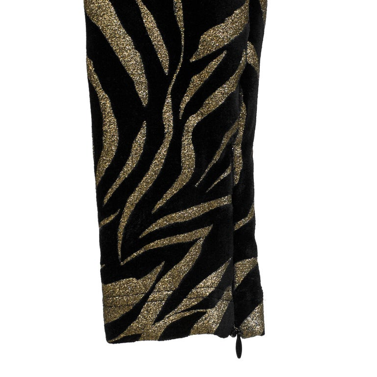 Women's 1980s Gianni Versace Black and Gold Tiger Stripe Leggings  For Sale