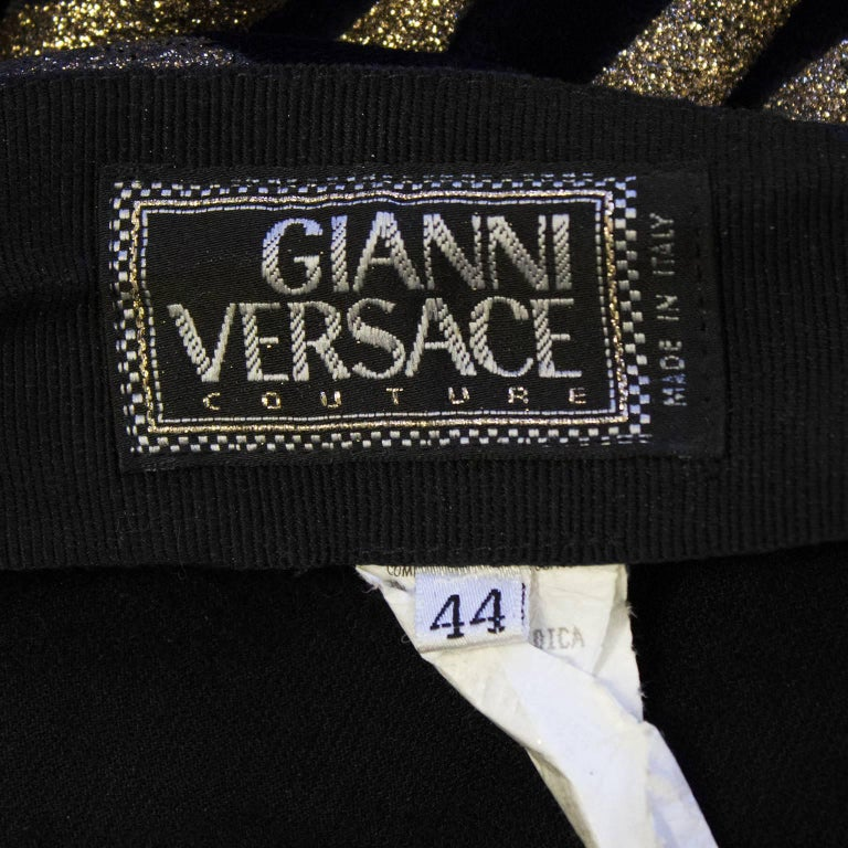 1980s Gianni Versace Black and Gold Tiger Stripe Leggings  For Sale 2