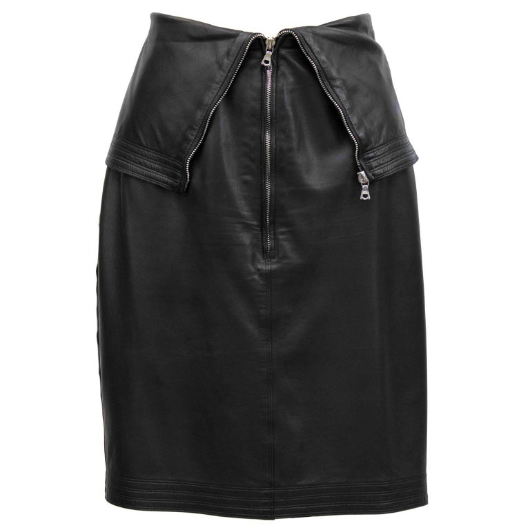 1980's Gianni Versace Black Leather Skirt