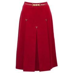 1970s Celine Red Wool Skirt