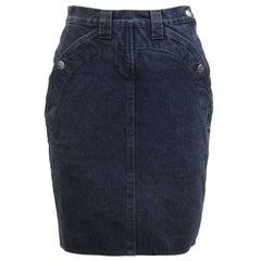 1980's Krizia Jeans Denim Pencil Skirt