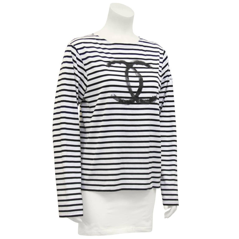 0c3be0674d157b Limited edition white with black horizontal stripes cotton long sleeve shirt  from the Chanel 2008 Christmas