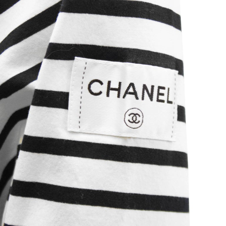 Limited edition chanel christmas 2008 long sleeve striped for Chanel logo t shirt to buy