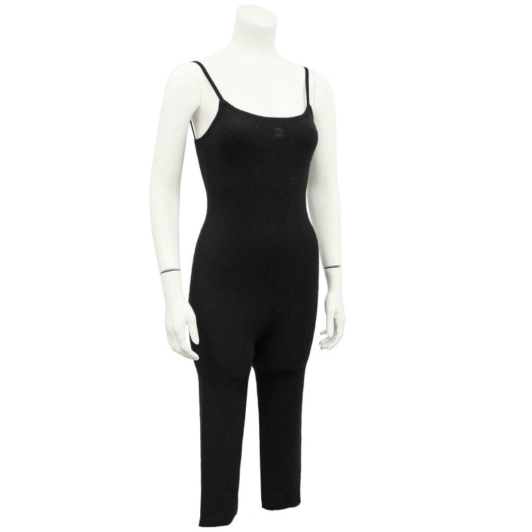 1990's gorgeous Chanel Scottish ribbed cashmere tank style one piece catsuit with cropped legs. Small tonal black Chanel CC logo center front. Perfect for under ski attire or for a cozy winter night by the fire. Excellent vintage condition. Fits