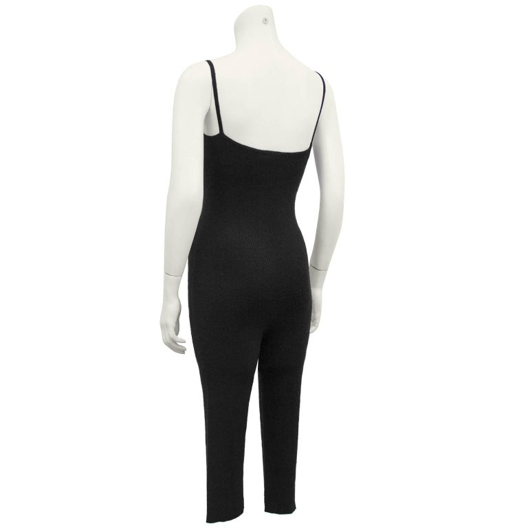 1990's Chanel Black Cashmere Cropped Catsuit In Excellent Condition For Sale In Toronto, Ontario
