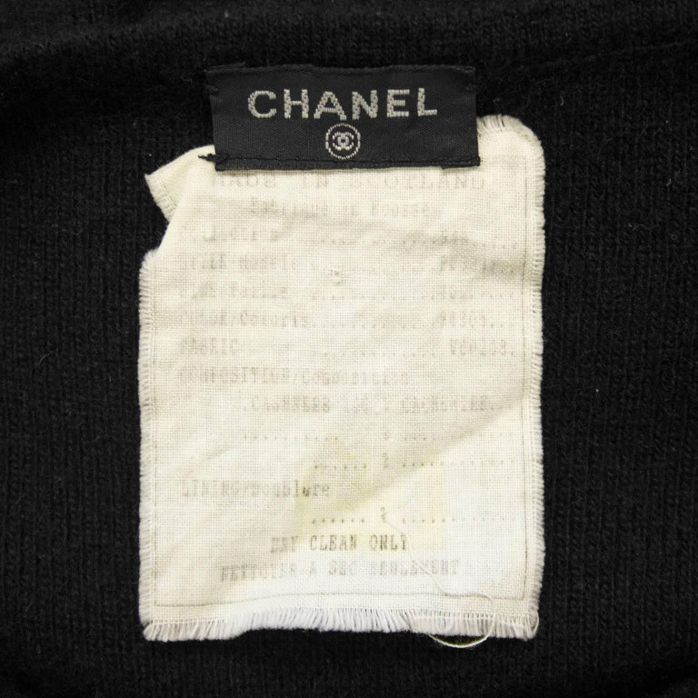 1990's Chanel Black Cashmere Cropped Catsuit For Sale 2
