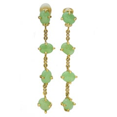1980s Valentino Long Gold Tone and Sea Foam Clip Back Green Earrings