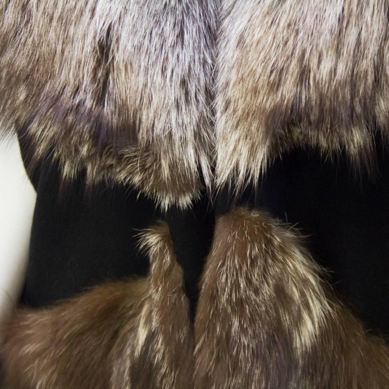 Women's 1970s Black Wool Cape with Fox Trim  For Sale
