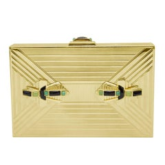 1980s Judith Leiber Gold Art Deco Rectangle Clutch