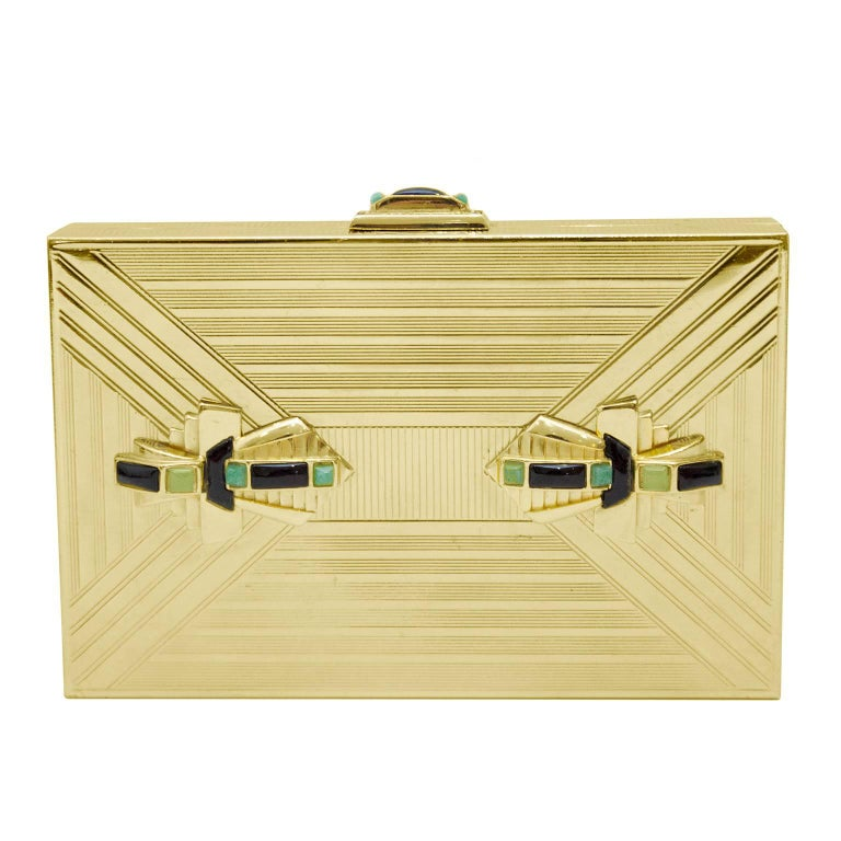 1980s Judith Leiber Gold Art Deco Rectangle Clutch  For Sale