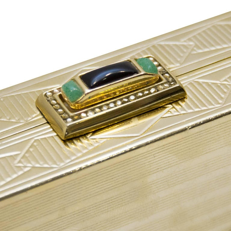 1980s Judith Leiber Gold Art Deco Rectangle Clutch  For Sale 2