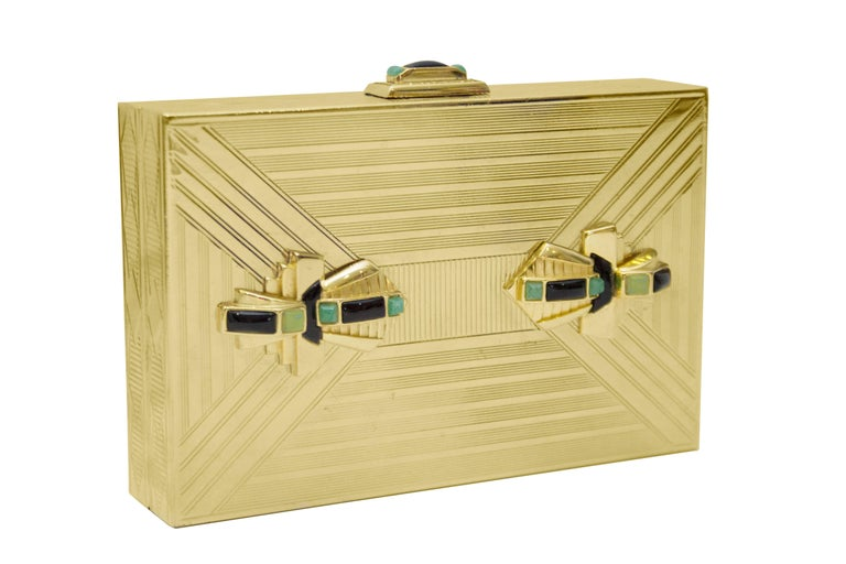 1980s Judith Leiber Gold Art Deco Rectangle Clutch  In Excellent Condition For Sale In Toronto, CA