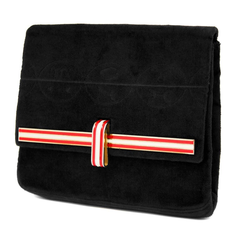 1950s Midnight Navy Cut Velvet Clutch with Red and White Enamel Clasp