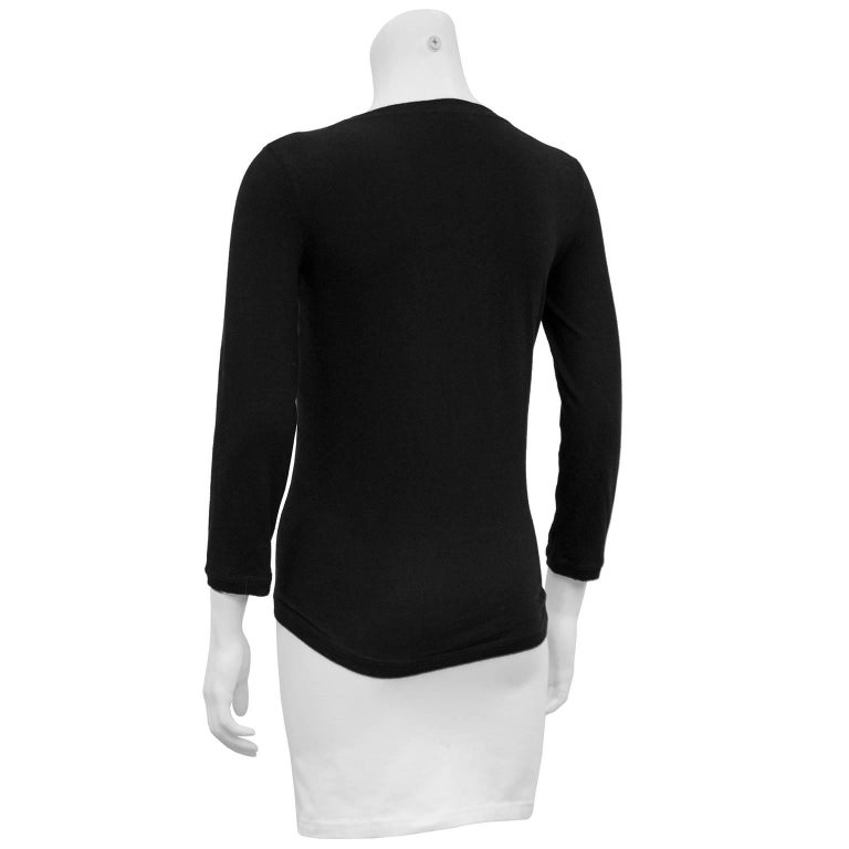 Chanel Black Long Sleeve Top with Cut Out and Coin Detail, 1990s  In Excellent Condition For Sale In Toronto, CA
