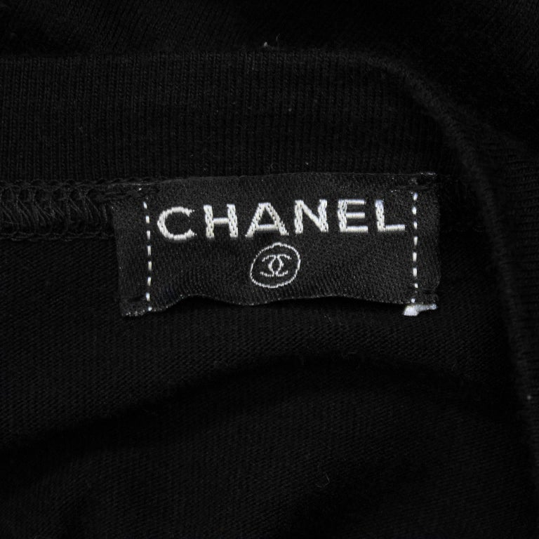 Chanel Black Long Sleeve Top with Cut Out and Coin Detail, 1990s  For Sale 2