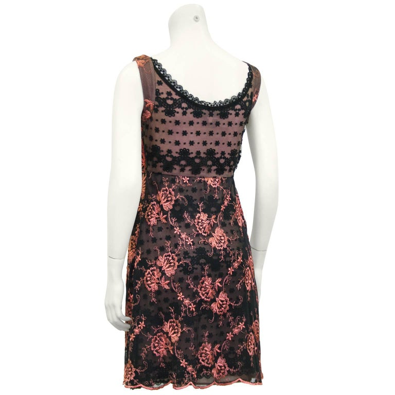 Brown 1990s Christian Lacroix Pink and Black Lace Cocktail dress For Sale