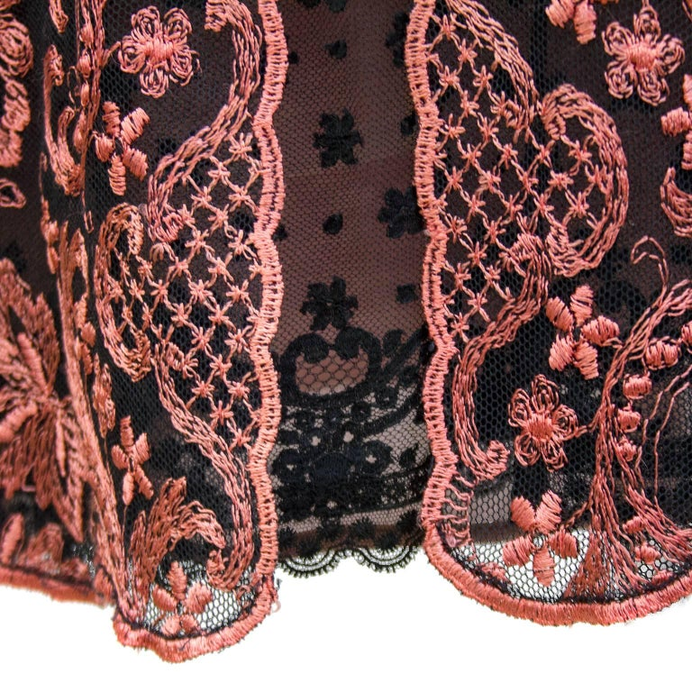 1990s Christian Lacroix Pink and Black Lace Cocktail dress For Sale 1