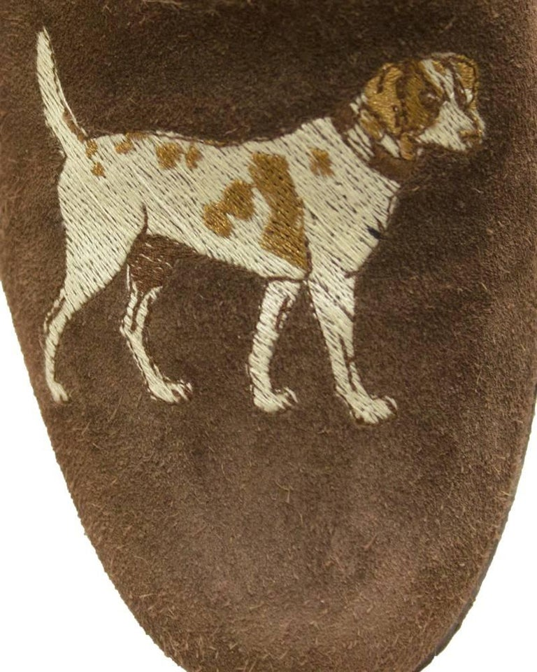 eed5f51a494dd8 Women s or Men s 1970s Stubbs and Wooten Brown suede Slippers with Dog Motif  For Sale
