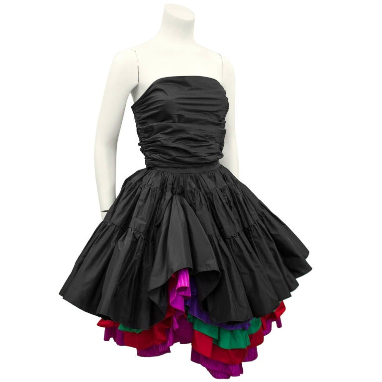 Women's 1980s Maggie Reeves Demi Couture Taffeta Bustier, Skirt and Floral Jacket  For Sale