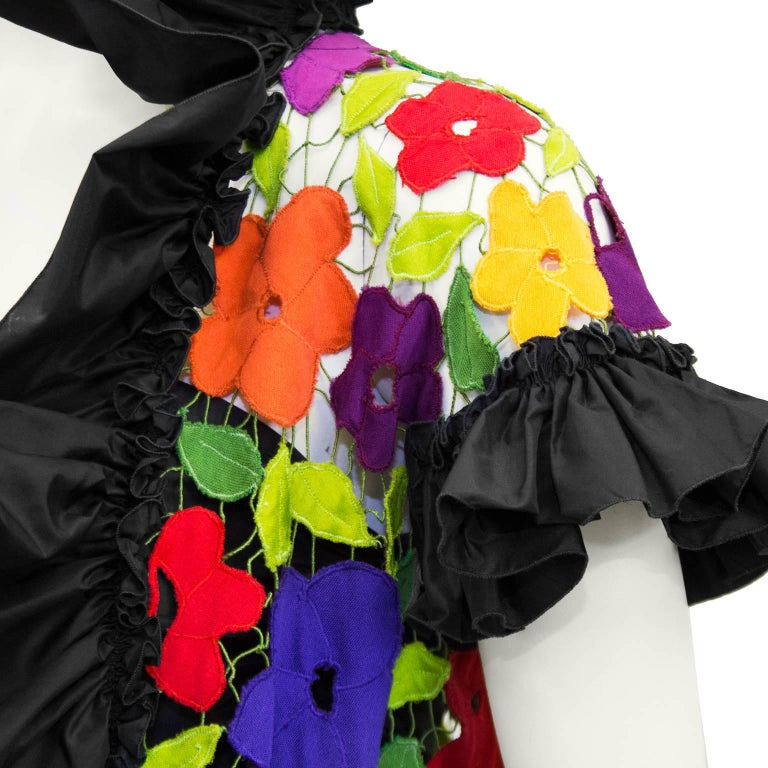 Black 1980s Maggie Reeves Demi Couture Taffeta Bustier, Skirt and Floral Jacket  For Sale
