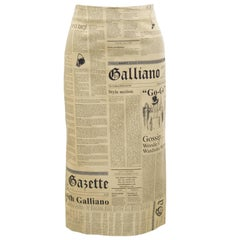 2000 John Galliano Iconic News Print Collection Pencil Skirt