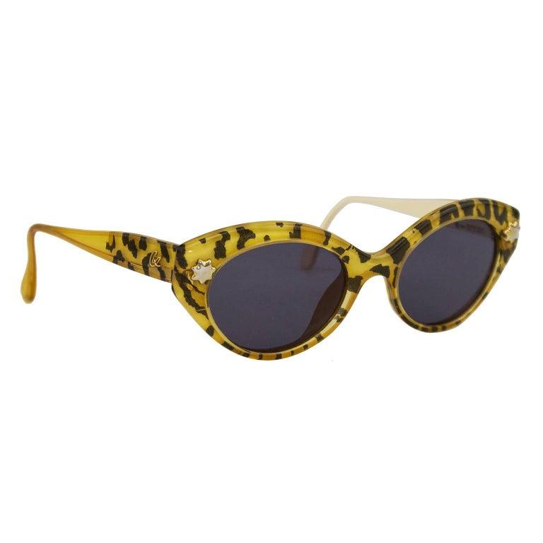 Gray 1980s Christian Lacroix Leopard Print Sunglasses  For Sale