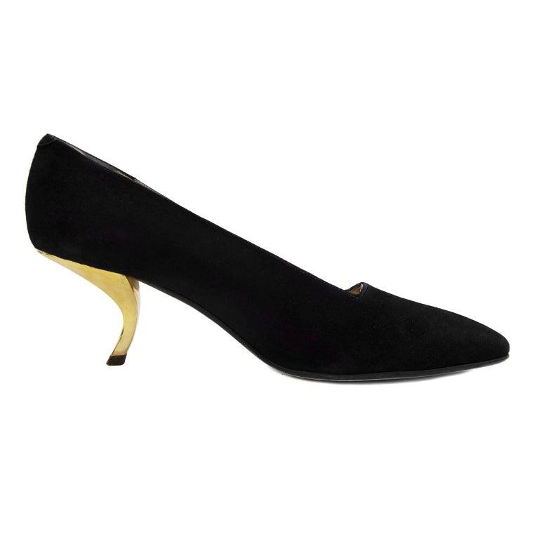 e6c28ef988 1960's Roger Vivier Black Evening Shoe With Gold Metal Apostrophe Heels For  Sale