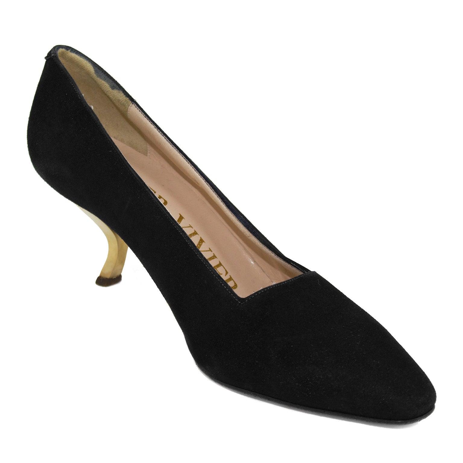e3139bd247 1960's Roger Vivier Black Evening Shoe With Gold Metal Apostrophe Heels For Sale  at 1stdibs