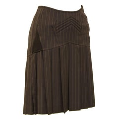 1990s Jean Paul Gaultier brown Pin Stripe Mini Skirt with Butt Boning