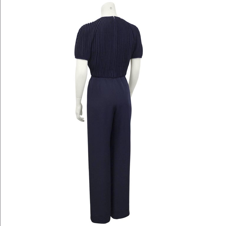 1990's Valentino Couture Navy Blue Jumpsuit 3