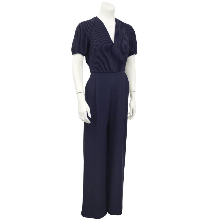 1990's Valentino Couture Navy Blue Jumpsuit 2