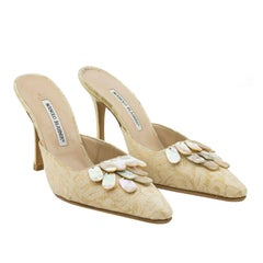 1990s Manolo Blanhik High Heel Mules with Mother or Pearl Details