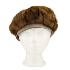 1960s Mink Beret with Taupe Ribbon and Bow Detail