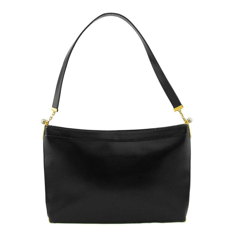 Black Calfskin Large Rectangle Handbag Dating From The 1960s Contrasting Gold And Silver Hardware With