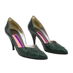 1980s Susan Bennis Warren Edwards Green Exotic Skin Dorsay Style Pumps