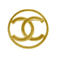 Early 1980s Chanel 14kt Filled Gold CC logo Pin