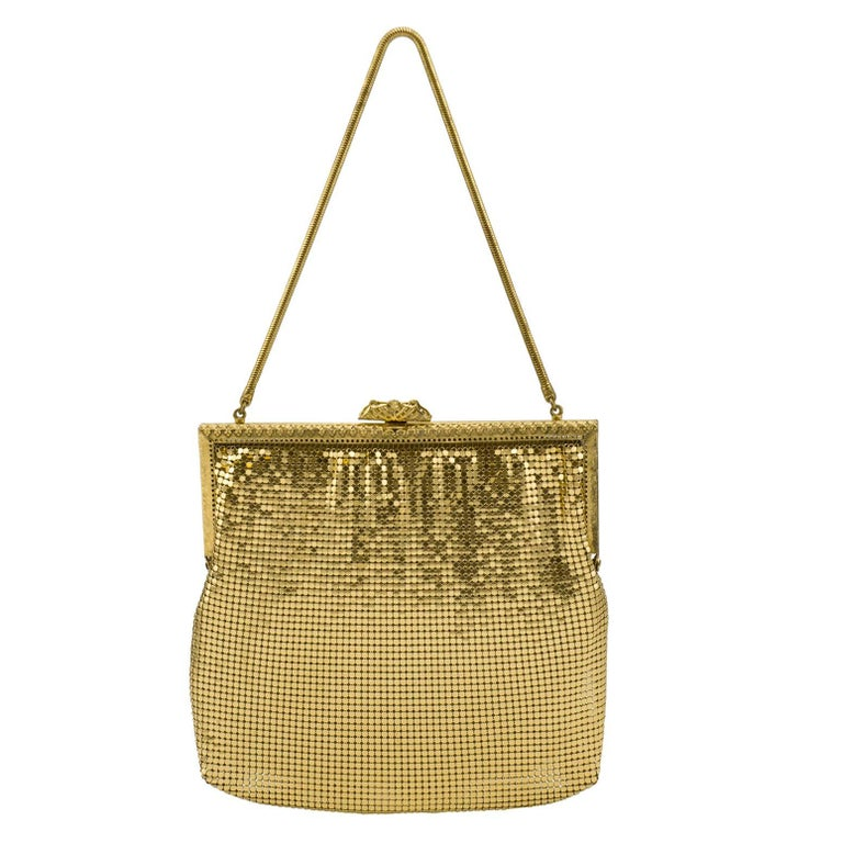1950s Gold Metal Mesh Evening Bag  For Sale