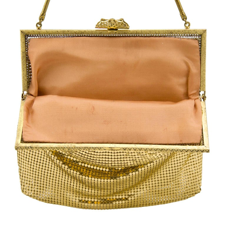 Brown 1950s Gold Metal Mesh Evening Bag  For Sale