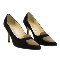 1990s Manolo Blahnik Black and Brown Suede Pumps