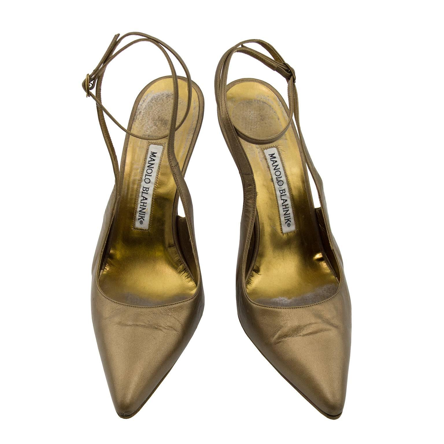 1990s Manolo Blahnik Bronze Mules With Ankle Strap
