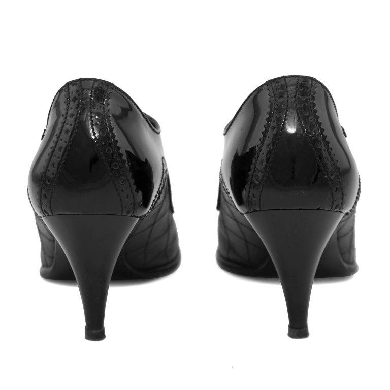 Women's 1990s Chanel Black Brogue Pumps For Sale